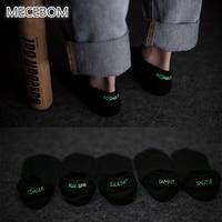 MECEBOM Fashion Adult Letter Print Socks Shut Up Printed Luminous Sock Unisex Women Cotton Ankle Socks