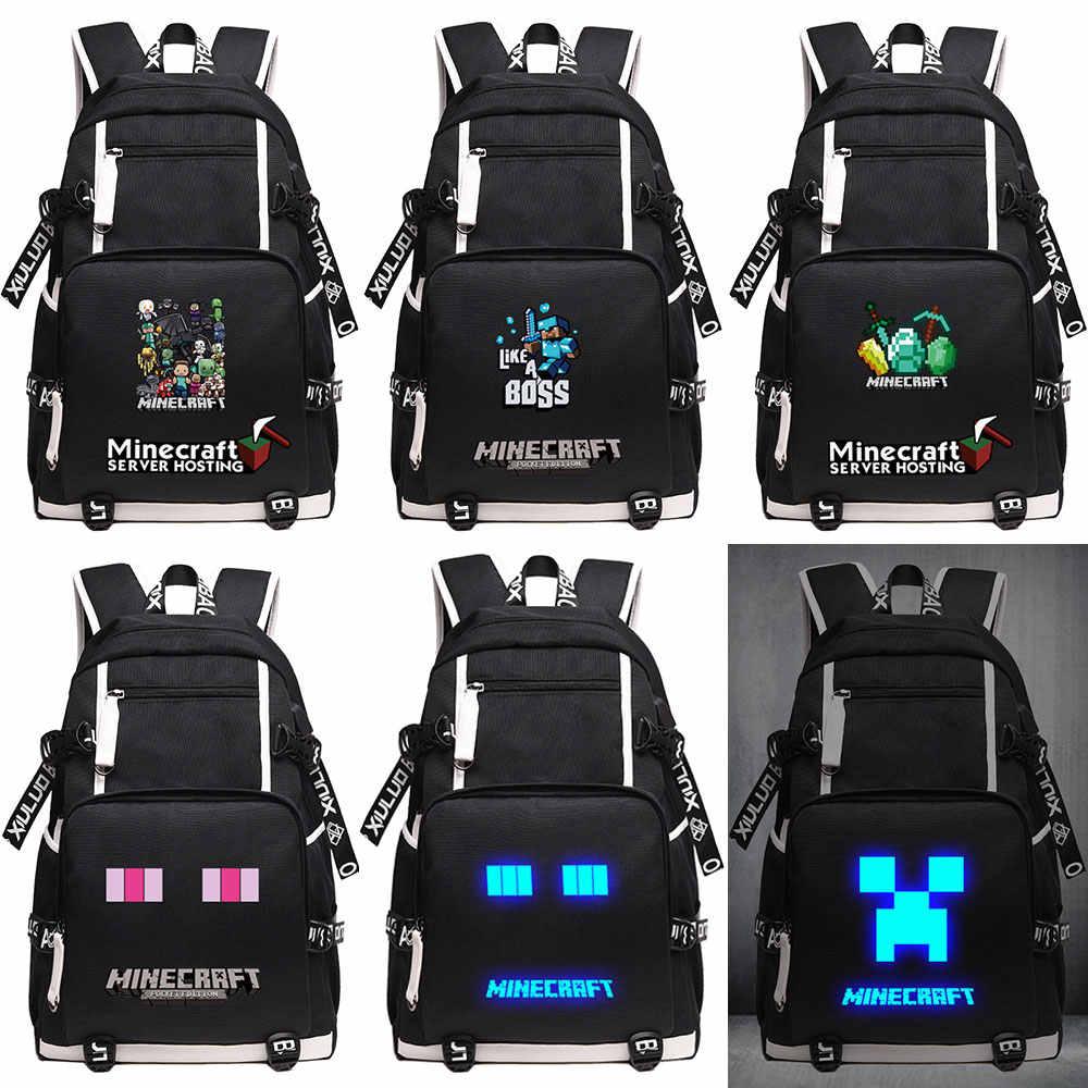 ecefb614526a Cartoon Hot Games Minecraft Plaid Creepers USB Charging Laptop Boy Girl  School bag Women Bagpack Teenagers