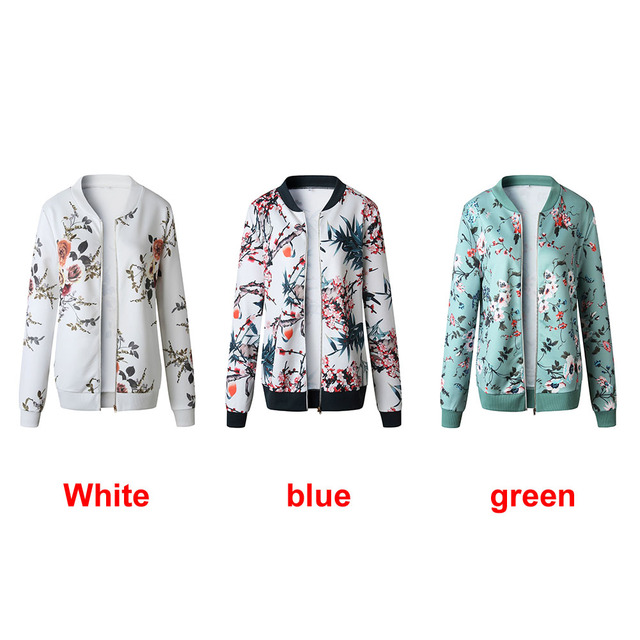Retro Zipper Bomber Army Coat Floral Flight Biker 1