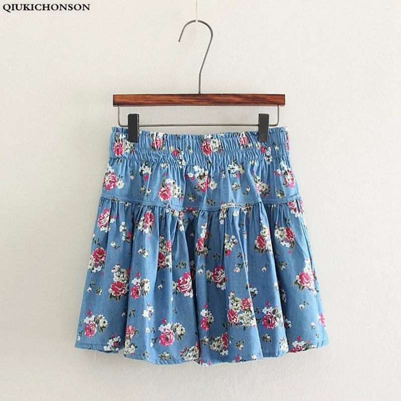 Floral Skirt Women 2016 New Fashion Mori Girl Casual Flower Print Short Summer Denim Skirts saias