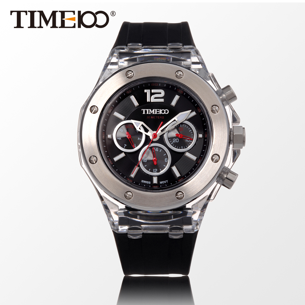 ФОТО TIME100 Fashion Women's Outdoor Sport Quartz Watch Silicone Strap Chronograph Casual Watch Ladies Wrist Watches Gift Relogio