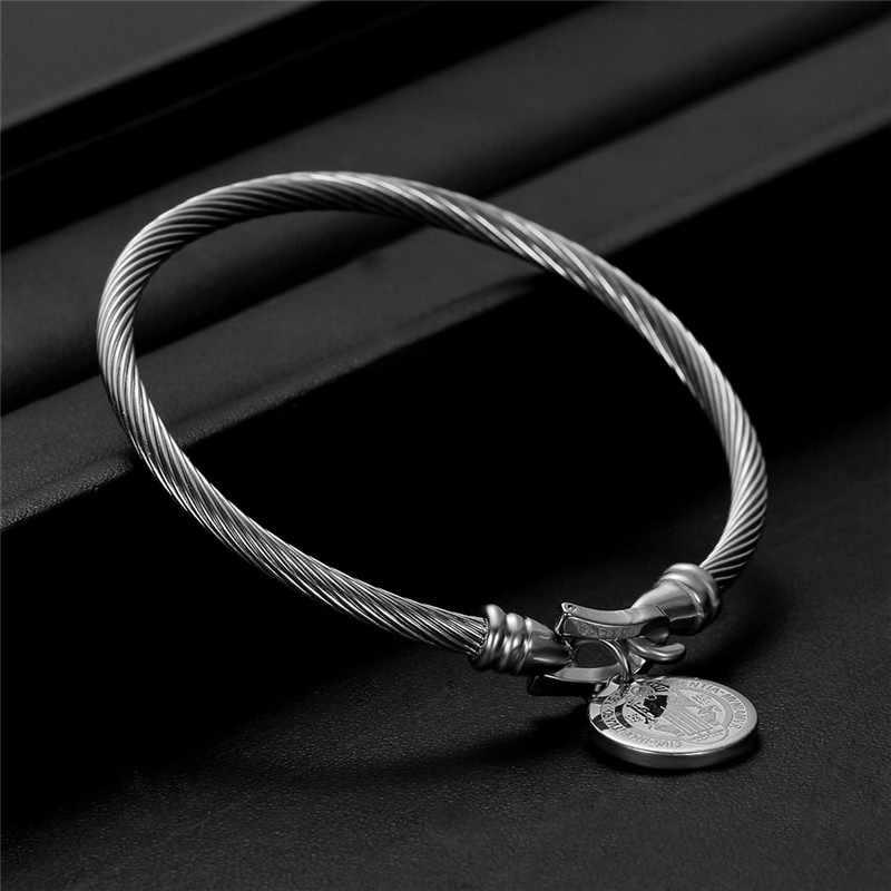 Medal świętego benedykta mankiet Charm bransoletki złoty/srebrny kolor drutu ze stali nierdzewnej Pulseira bransoletka biżuteria dla kobiet