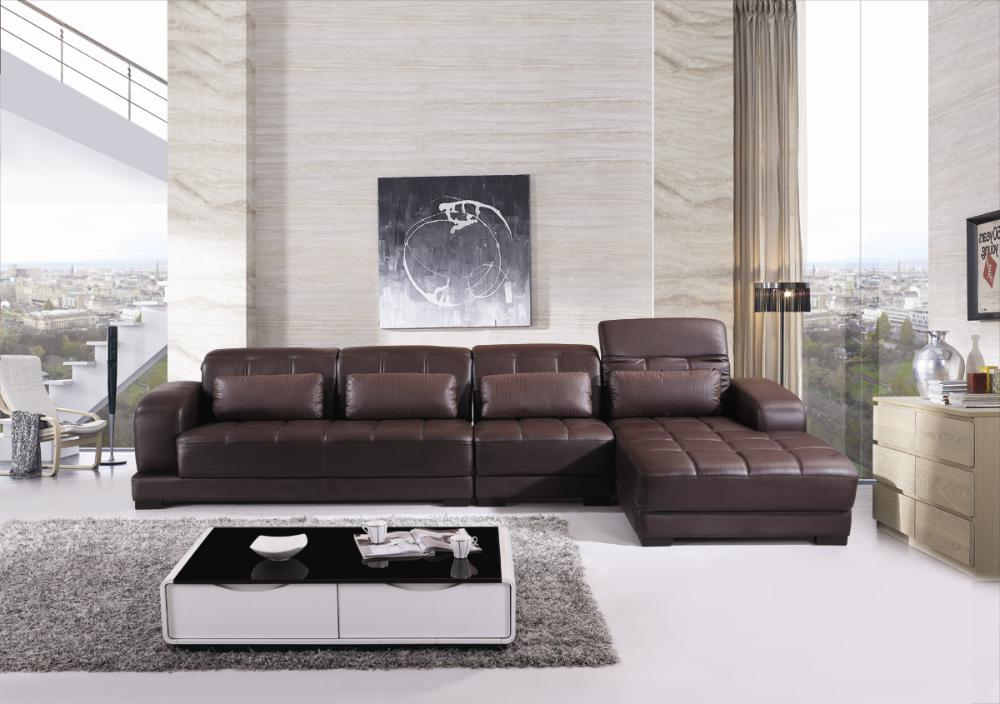 Free Shipping Classic Coffee Color Top Grain Leather Sofa L