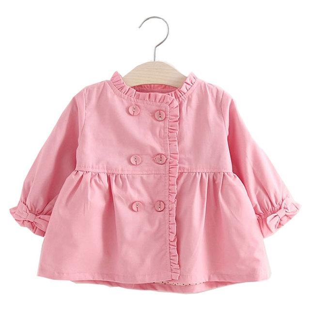 Nueva baby girl trench coats infantil niños de manga larga outwear niños chaquetas moda sport girls tela pajarita traje clothing