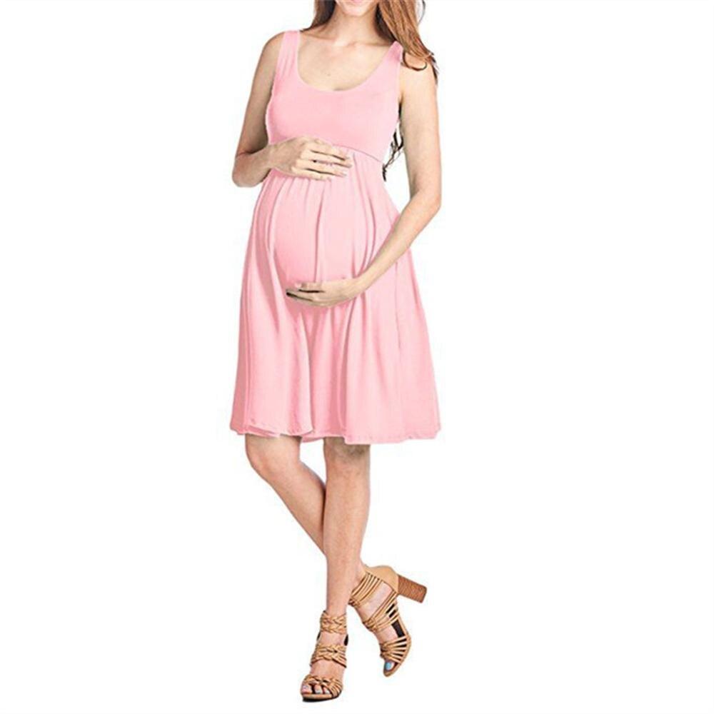 Women Soild Sleeveless Collar High Waist Women Stitching Sleeveless Loose Dress 7 colors Pregnancy Clothing