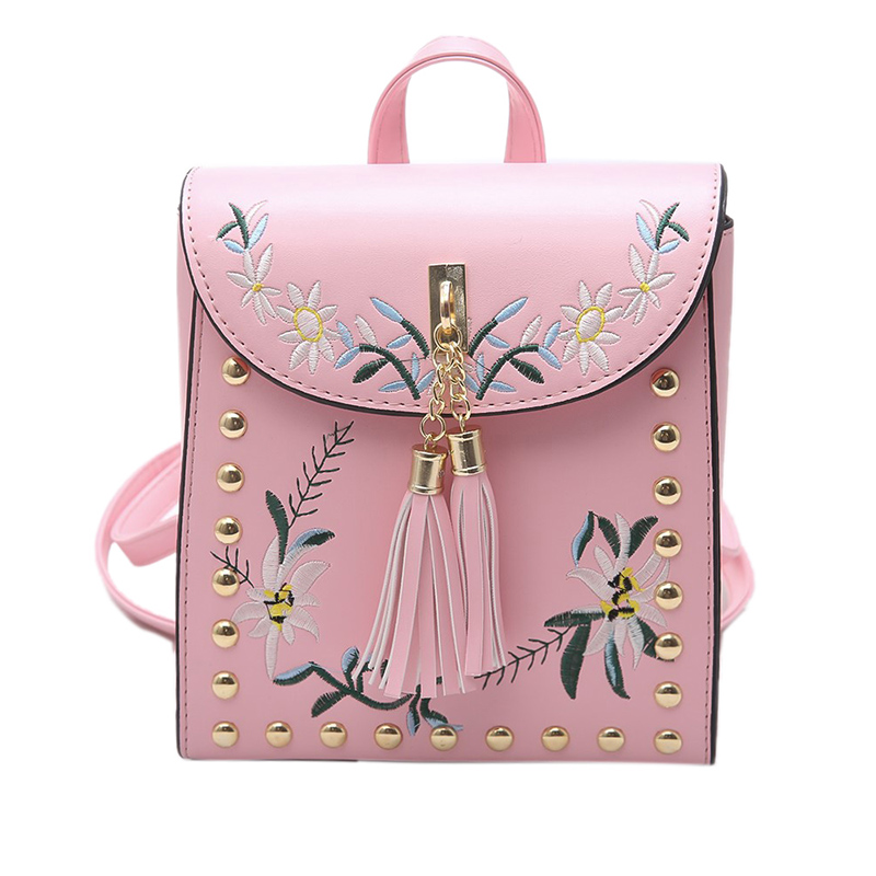 Korean version Japanese fashion Leisure Embroidered tassels sweet lovely Small fresh bag Cartoon travel woman PU