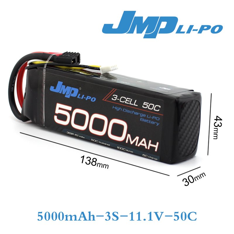 2pcs JMP Lipo Battery 3S 5000mAh Lipo 11.1V Battery Pack 50C Battery for 1/10 Car 1/8 RC Car for Traxxas Slash Emaxx Bandit h energy 2200mah 7 4v 50c lipo battery