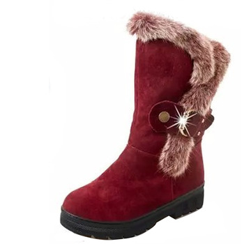 Winter Women Snow Boots Solid Warm Casual Boots With Fur Fashion New Buckle Round Toe Women Boots Classic Ladies Shoes