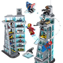 Zhenwei SuperHeroes Ironman Marvell Avenger Tower  Alliance Building SH678 Avengers Gift Blocks