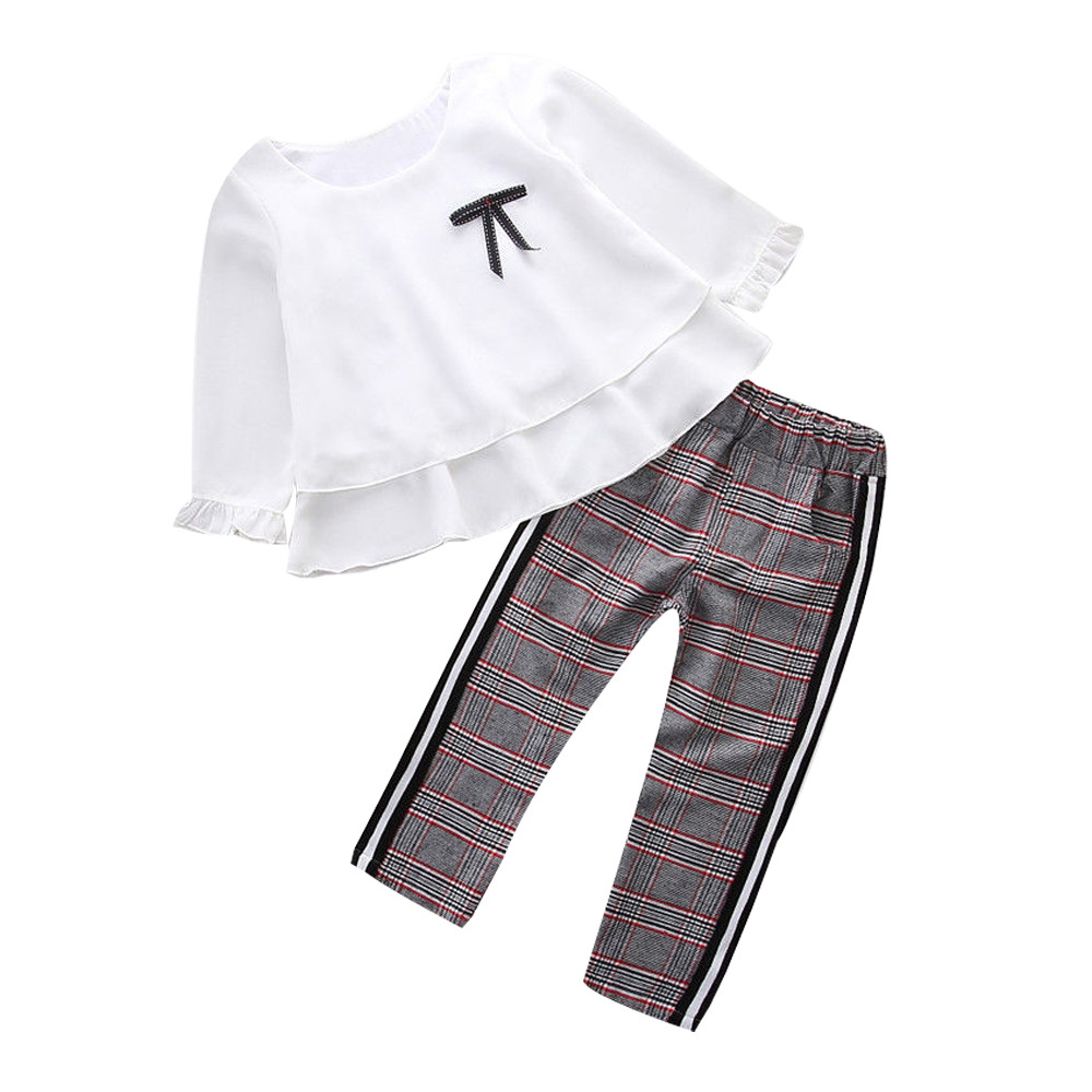 Denim Pants UK Kids Toddler Baby Girls Outfit Clothes Frill T Shirt Tops