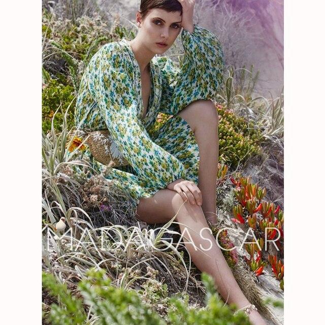 Лимонад кислоты цветочный принт разработан Зеленый Плиссированные складываются гармошкой Дизайн Глубокий сексуальный v-образным вырезом мини-платье свободные рукава