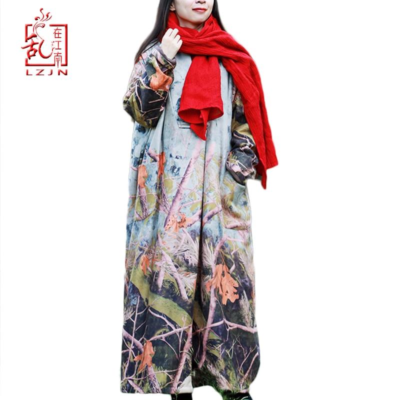 LZJN Plus Size Winter Jacket Women Long Fleece Coat Trees Print Vintage Duster Coat Single Button