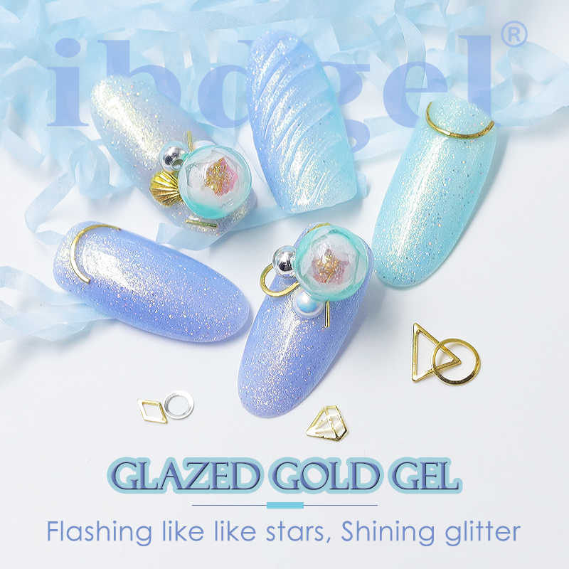 1 PC Ido Glitter Kuku Gel 15 Ml Seni Mengkilap Gold Series Shinning Colorful Gel Nail Polish Rendam Off UV LED Kuku Lem Bahasa Polandia