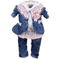 New 2016 Girls High Quality Denim Jacket Clothing Sets 3pcs Kids Clothes Sets Girls Lace Shirt