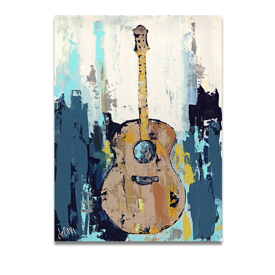 handmade Oil Painting on Canvas Guitar Music Canvas Wall Pictures for Living Room Home Decor no Framedhandmade Oil Painting on Canvas Guitar Music Canvas Wall Pictures for Living Room Home Decor no Framed