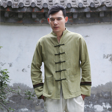 Autumn and winter chinese style retro frog patchwork embroidery casual pure linen cardigan men's outer coat jacket with pocket