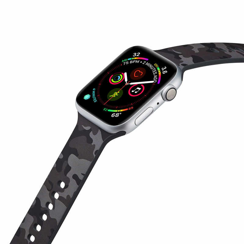 Sports Silicone Strap for Apple Watch bands 44mm 40mm Series 4 Floral Prints Wristwatch Belt for iwatch 1/2/3 38mm 42mm Bracelet