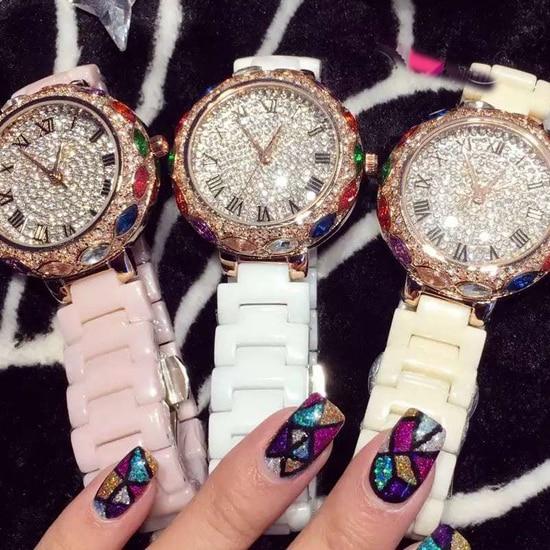 Nouvelle couleur pourpre célèbre marque pleine cristal élégant femmes montre de luxe coloré Zircon strass montre Bracelet livraison directe