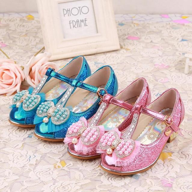 Top quality Children girl's Elsa girl princess bling pear crystal  shoes single  Leather Shoes fashion dance shoes 27-37 999-20