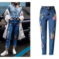 New Fashion Clothes Women Denim Pants Straight Long Jeans Pants 3D Flowers Embroidery High Waist Ladies
