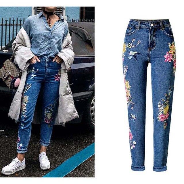 Новая модная одежда для женщин джинсовые штаны длинные прямые джинсы брюки для девочек 3D цветы вышивка высокая талия дамы джинсы