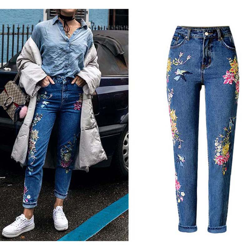 New Fashion Clothes Women Denim Pants Straight Long Jeans Pants 3D Flowers Embroidery High Waist Ladies Jeans Legging Trousers
