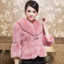 2016 Spring And Autumn Women's Genuine Natural Rabbit Fur Jacket with Fox Fur Collar Flare Sleeve Female Short Coats VF0015