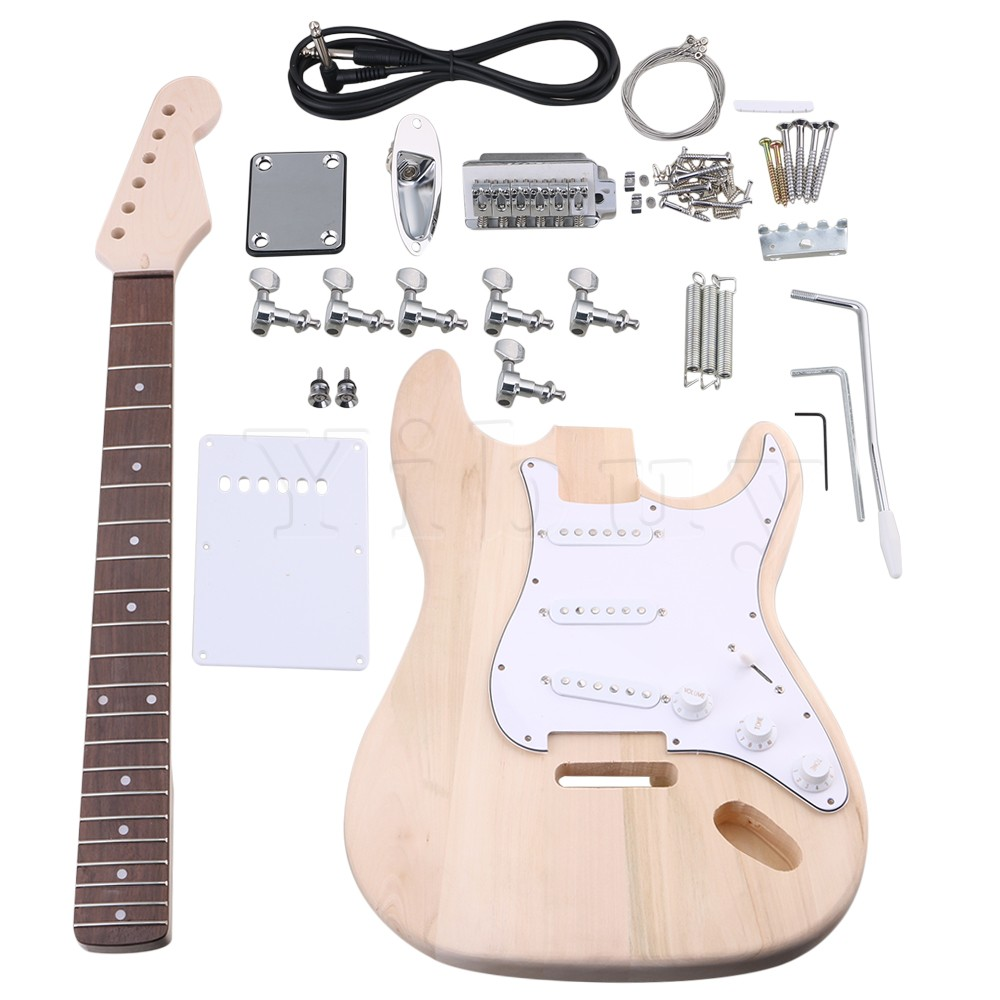 Yibuy Maple DIY Electric Guitar Body Neck Fingerboard Pickup with Tuning Pegs and SSS Pickups Finished Suit Accessories yibuy maple diy electric guitar body neck fingerboard with tuning pegs and 2 single coil pickips suit accessories