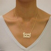 Персонализированное 925 пробы Серебряное ожерелье с двойными именами на заказ ожерелье с подвеской ручной работы подарок на День святого Валентина для нее