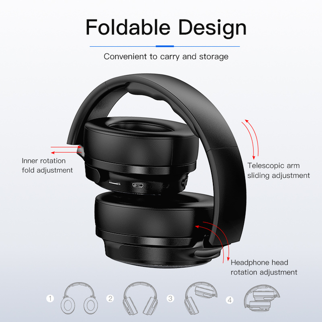 AWEI Budget Bluetooth V5.0 Gaming Headphone Stereo Headset AAC Noise Cancelling With Mic Support TFcard 4