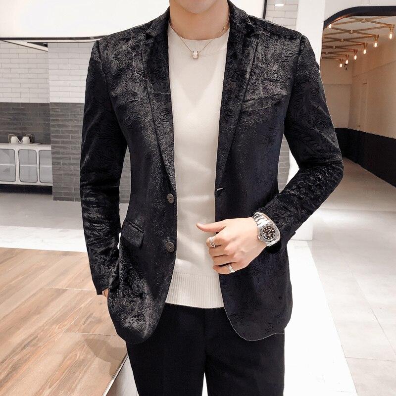 Luxury Velvet Blazer Paisley Pattern Mens Stage Clothes  Blazer Masculino Slim Fit Americana Hombre Club Blazer Hombre 5xl
