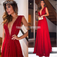 Sexy Red Gown Vestido Longo Festa Soft Tulle Sleeveless Deep V Neck Pearls Crystals Sexy Evening Prom Dress 2019