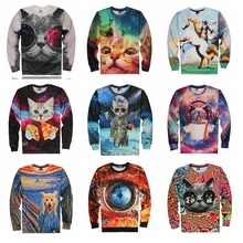 High-quality trend youth spring and autumn skinny jersey huge youngsters humorous 3d kitten print jogging shirt boy 15-20 years T-shirt