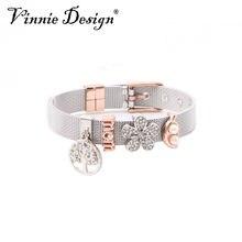 c44afc4038b4 Vinnie joyería de diseño guardián de malla de acero inoxidable de 4 piezas  de encantos de plata pulseras de oro rosa guardianes