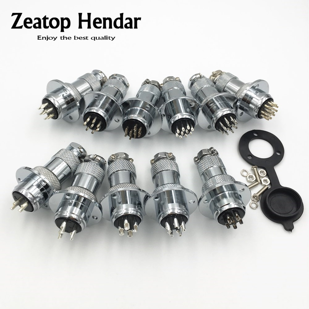 1Set GX20 XLR 20mm 2 3 4 5 6 7 8 9 10 12 14 Pin Female Plug Male Chassis Mount Socket Aviation Connector with Dust Cover