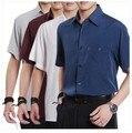 Летняя повседневная рубашка, с короткими рукавами из коллекции 2017, тонкая шелковая короткая мужская рубашка для мужчин средних лет, облегающая рубашка, размеры M, L, XL, XXL, XXXL, XXXXL.