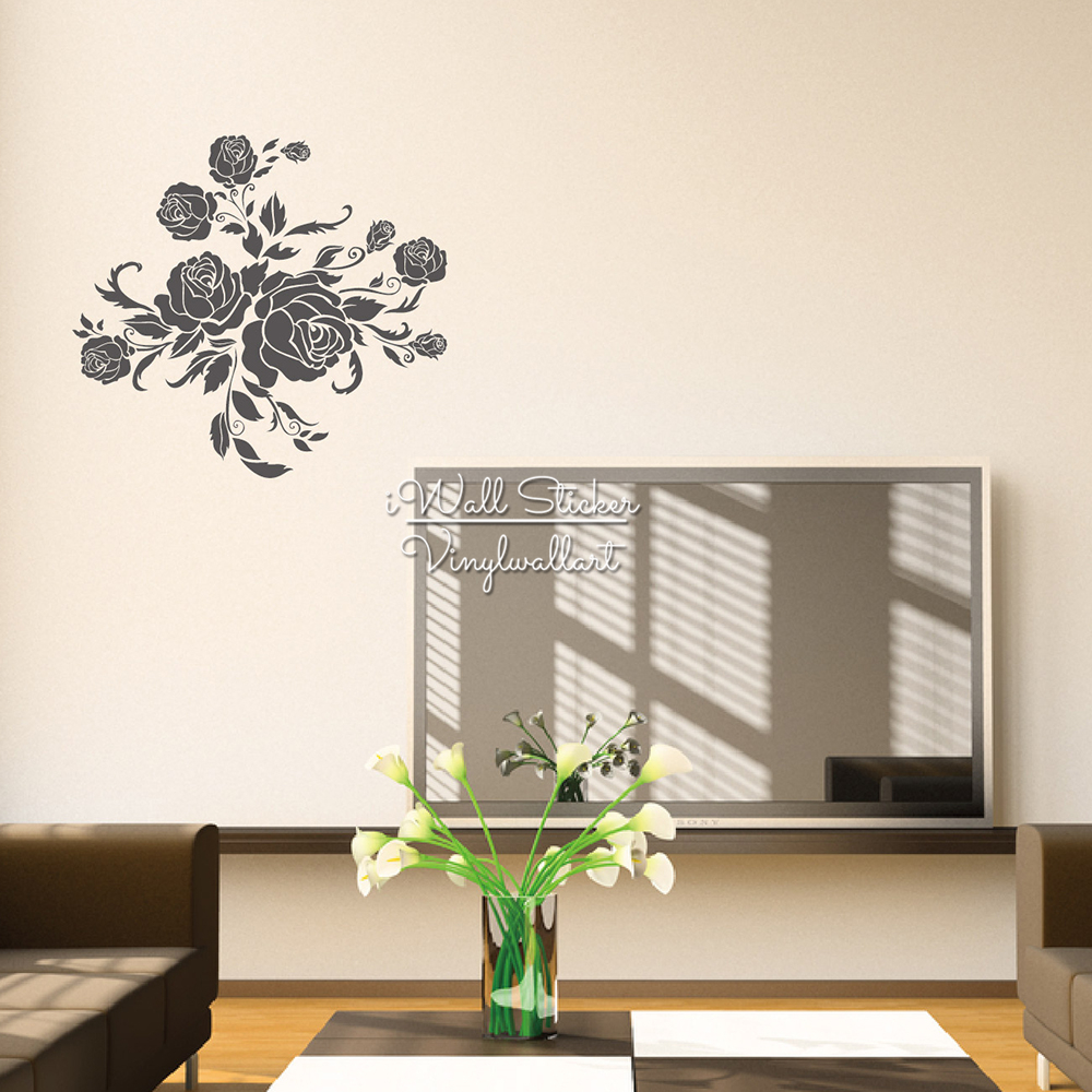 Rose wall stickers gallery home wall decoration ideas rose flower wall sticker floral rose wall decal diy modern blossom rose flower wall sticker floral amipublicfo Gallery
