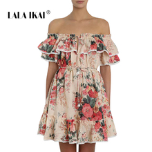 c226625822 LALA IKAI Brand Sexy Floral Printed Summer Women Dress Slash Neck Ruffles  Mini Dresses Bandage Beach