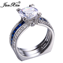 JUNXIN Luxury Female Blue Ring Set Bridal Sets High Quality Gold Filled Jewelry Vintage Wedding Rings For Women Girlfriend Gift