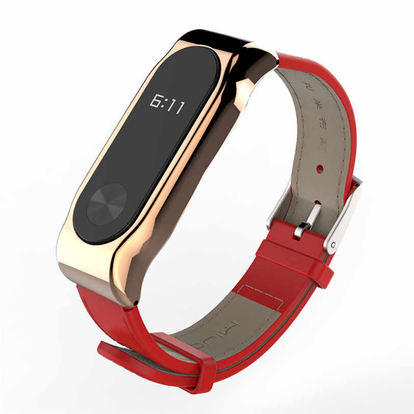 Original Wrist Strap For Xiaomi Mi band 2 Miband Smart Bracelet Leather Watch Clasp Replacement With Metal Case Kit PG11 2018New