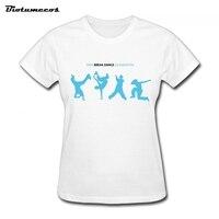 Venda quente da Dança do Projeto Da Imagem Das Mulheres T Camisa de Algodão de Manga Curta Confortável O-pescoço Da Menina Casual Camisa WTW007