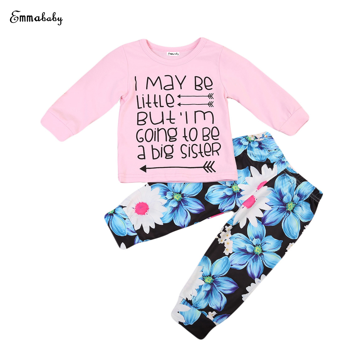 Babies Summer Floral Clothing Newborn Toddler Kids Baby Girls Clothes T Shirt Tops+Flowers Pants Outfits Set