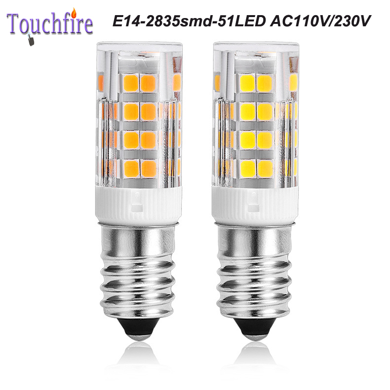 10pcs E14 2835smd 51 LED Bulb Tubes Corn Lamp 4w AC 110V White/Warm Light 360 Beam Angle replace Halogen Spotlight Chandelier