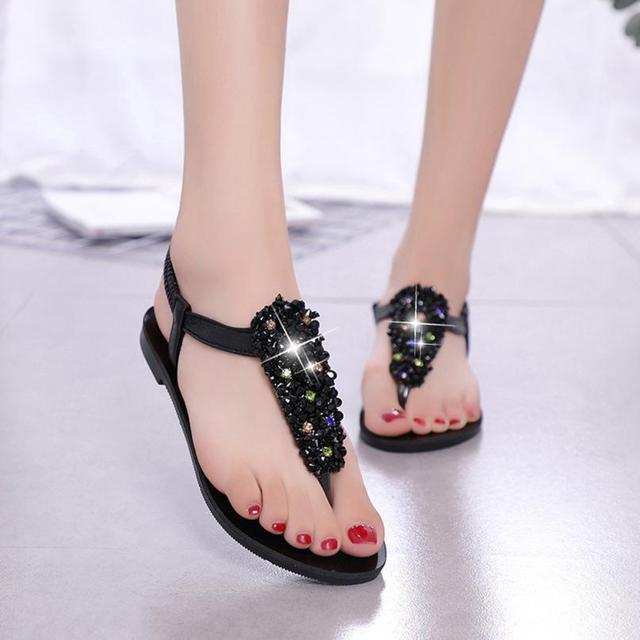 218f8d879 mokingtop scandale femme ete Women Fashion Bohemia Crystal Round Toe Flat  Heel Sandals Beach Shoes