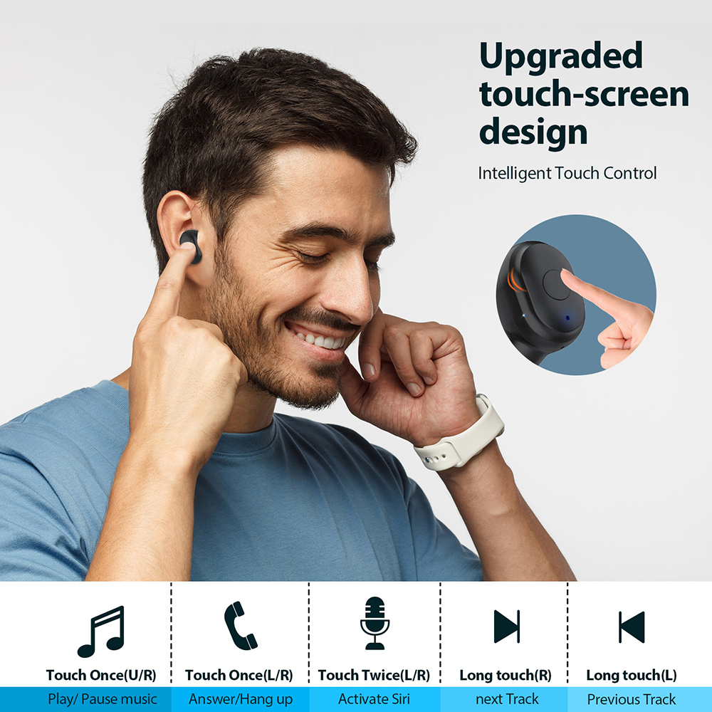 AUSDOM Wireless Bluetooth Earphone with Noise Cancelling 3