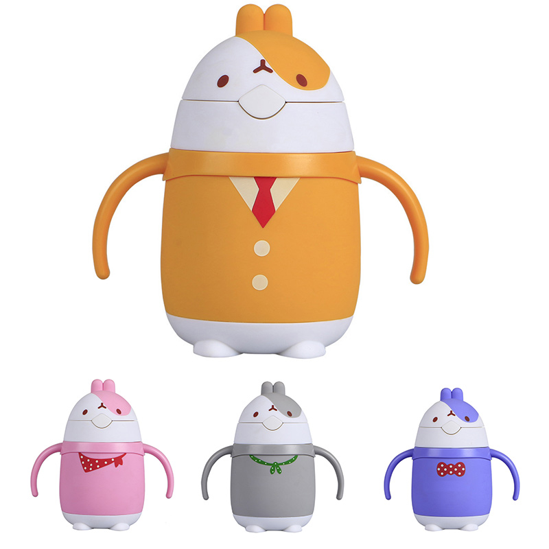 Cute Rabbit Thermos Bottle Baby Straws Cups Portable Boys Girls Stainless Steel Insulation Cup Creative Gift Bottle For Water