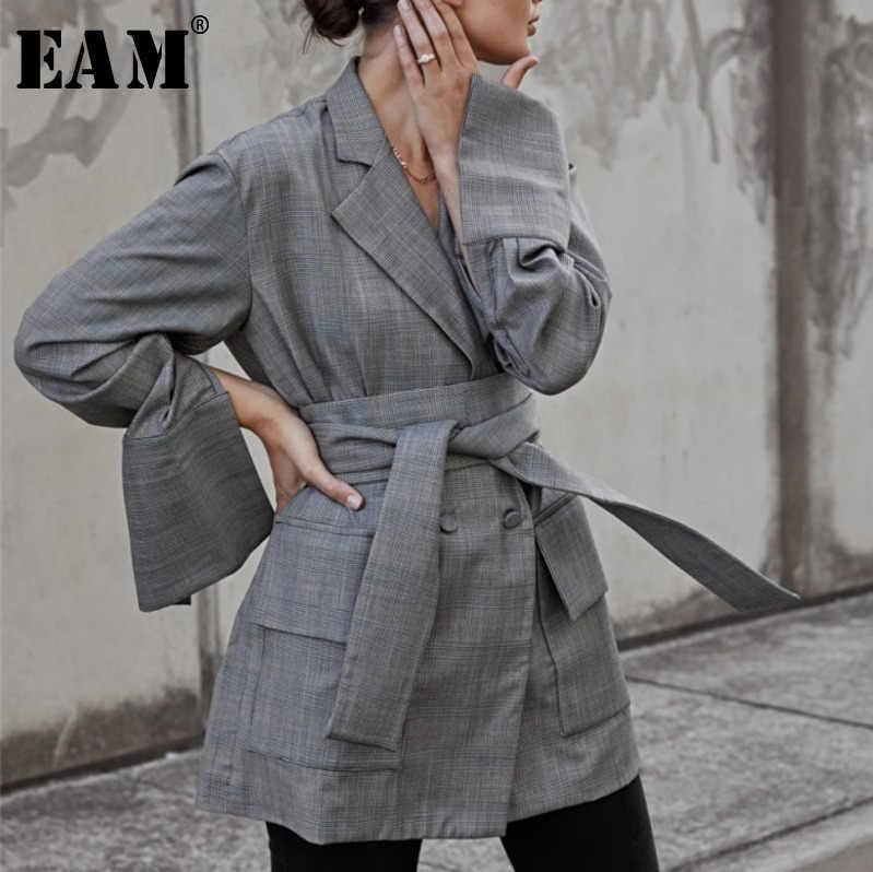 [EAM] Новинка весны 2019 модное двубортное женское пальто с v образным вырезом и