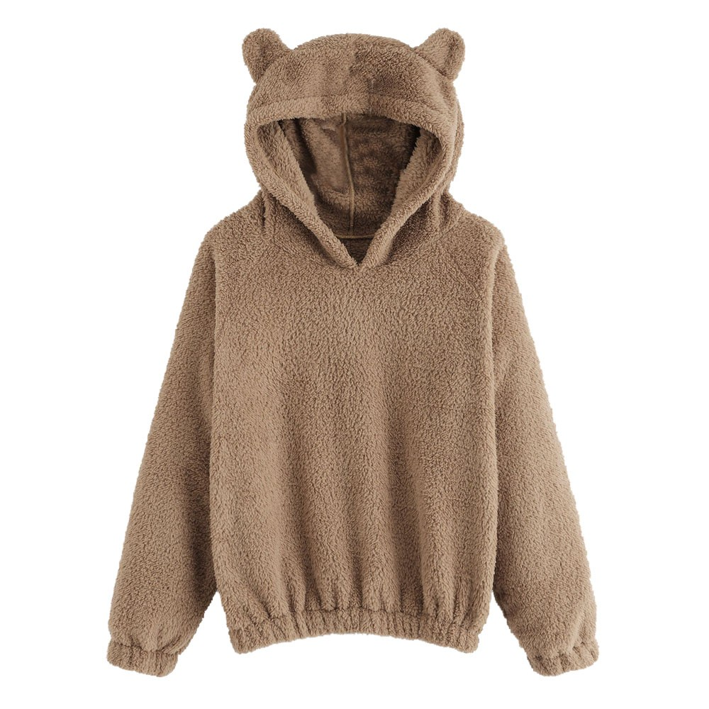 Women Hoodies Sweatshirt Kawaii Fleece Fur Coat 2018 Winter Warm Teddy Bear Ears Soft Jacket Thick Coat Hooded Outwears Sudadera(China)