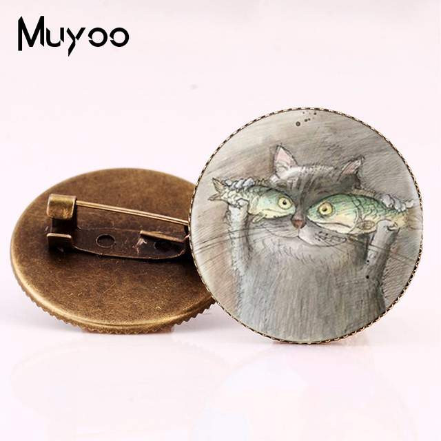 2017 New Style Cat And Fish Brooch pin Animal Photo Brooches Cartoon Painting Pi