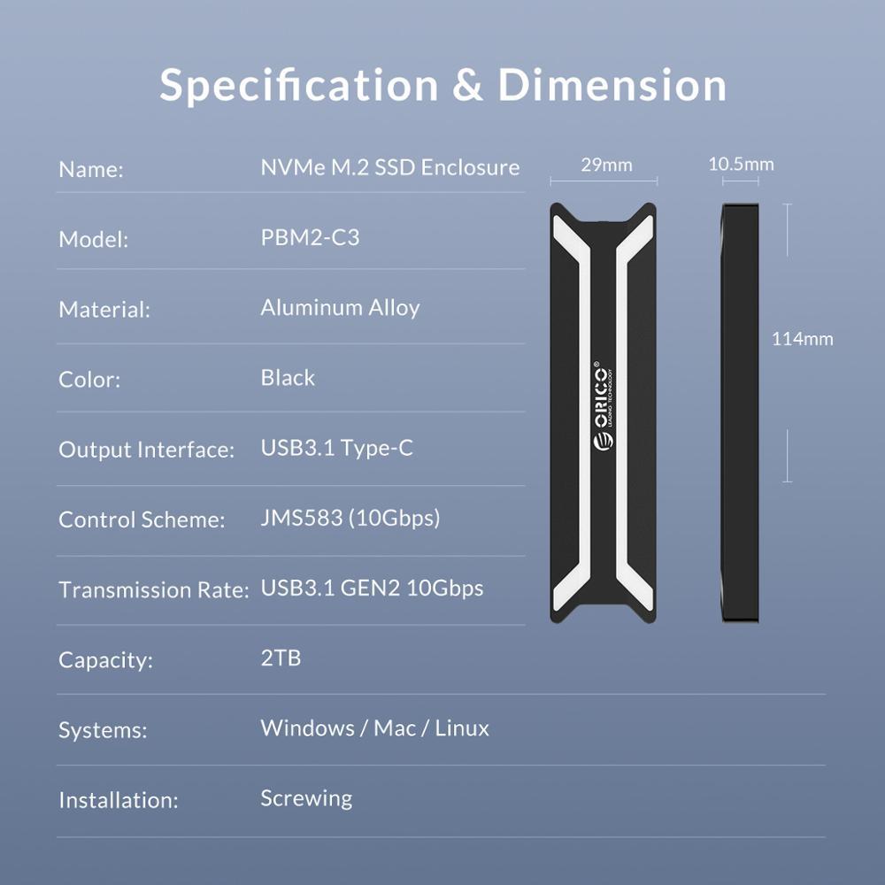 ORICO NVME M 2 SSD Case Type C USB 3 1 Support 10Gbps UASP M 2 USB NVME  Enclosure Aluminum Hard Drive Disk Box